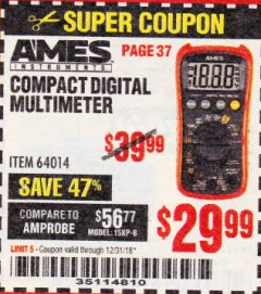 Harbor Freight Coupon AMES COMPACT SIZED DIGITAL MULTIMETER Lot No. 64014 Expired: 12/31/18 - $29.99