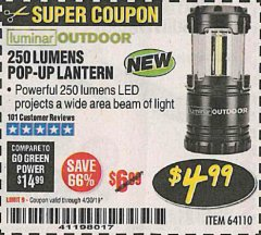 Harbor Freight Coupon 250 LUMENS POP-UP LANTERN Lot No. 64110 Expired: 4/30/19 - $4.99