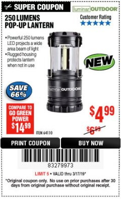 Harbor Freight Coupon 250 LUMENS POP-UP LANTERN Lot No. 64110 Expired: 3/17/19 - $4.99