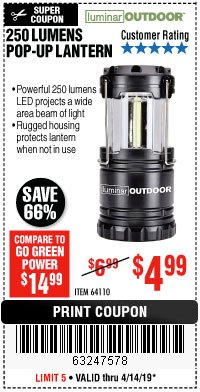 Harbor Freight Coupon 250 LUMENS POP-UP LANTERN Lot No. 64110 Expired: 4/14/19 - $4.99