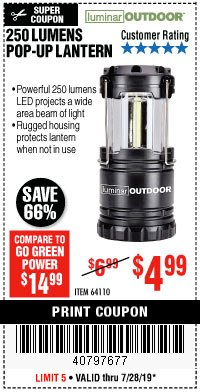 Harbor Freight Coupon 250 LUMENS POP-UP LANTERN Lot No. 64110 Expired: 7/28/19 - $4.99
