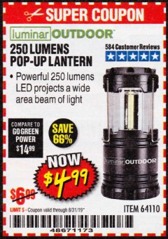 Harbor Freight Coupon 250 LUMENS POP-UP LANTERN Lot No. 64110 Expired: 8/31/19 - $4.99