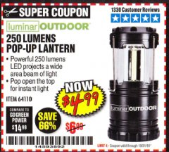 Harbor Freight Coupon 250 LUMENS POP-UP LANTERN Lot No. 64110 Expired: 10/31/19 - $4.99