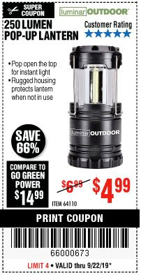 Harbor Freight Coupon 250 LUMENS POP-UP LANTERN Lot No. 64110 Expired: 9/22/19 - $4.99