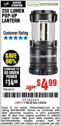 Harbor Freight Coupon 250 LUMENS POP-UP LANTERN Lot No. 64110 Expired: 1/26/20 - $4.99