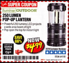 Harbor Freight Coupon 250 LUMENS POP-UP LANTERN Lot No. 64110 Expired: 3/31/20 - $4.99