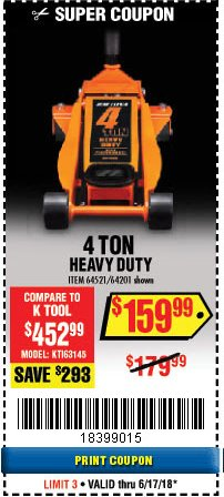 Harbor Freight Coupon DAYTONA 4 TON HEAVY DUTY FLOOR JACK Lot No. 64521/64201 Expired: 6/17/18 - $159.99