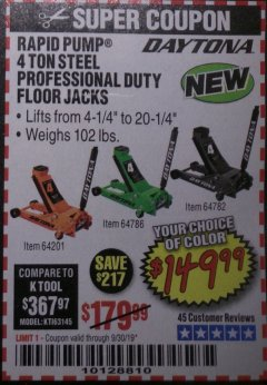 Harbor Freight Coupon DAYTONA 4 TON HEAVY DUTY FLOOR JACK Lot No. 64521/64201 Expired: 9/30/19 - $149.99