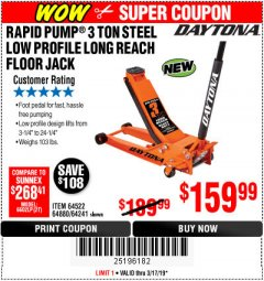 Harbor Freight Coupon DAYTONA 3 TON LOW PROFILE / LONG REACH FLOOR JACK Lot No. 64522/64241 Expired: 3/17/19 - $159.99