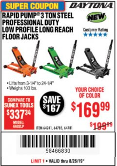 Harbor Freight Coupon DAYTONA 3 TON LOW PROFILE / LONG REACH FLOOR JACK Lot No. 64522/64241 Expired: 8/26/19 - $169.99
