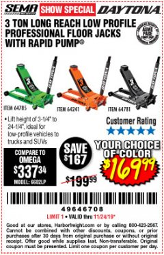 Harbor Freight Coupon DAYTONA 3 TON LOW PROFILE / LONG REACH FLOOR JACK Lot No. 64522/64241 Expired: 11/24/19 - $169.99
