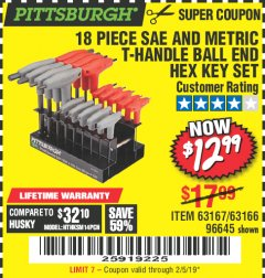 Harbor Freight Coupon 18 PIECE SAE AND METRIC T-HANDLE BALL END HEX KEY SET Lot No. 96645/62476/63166/63167 Expired: 2/5/19 - $12.99