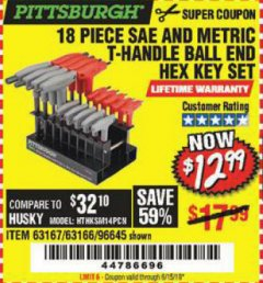 Harbor Freight Coupon 18 PIECE SAE AND METRIC T-HANDLE BALL END HEX KEY SET Lot No. 96645/62476/63166/63167 Expired: 6/15/19 - $12.99