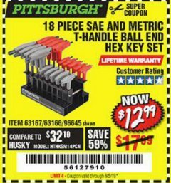 Harbor Freight Coupon 18 PIECE SAE AND METRIC T-HANDLE BALL END HEX KEY SET Lot No. 96645/62476/63166/63167 Expired: 5/5/19 - $12.99