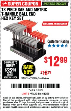 Harbor Freight Coupon 18 PIECE SAE AND METRIC T-HANDLE BALL END HEX KEY SET Lot No. 96645/62476/63166/63167 Expired: 6/30/20 - $12.99