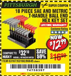 Harbor Freight Coupon 18 PIECE SAE AND METRIC T-HANDLE BALL END HEX KEY SET Lot No. 96645/62476/63166/63167 Expired: 6/28/20 - $12.99