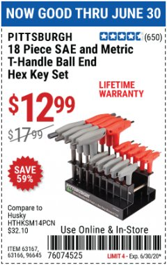 Harbor Freight Coupon 18 PIECE SAE AND METRIC T-HANDLE BALL END HEX KEY SET Lot No. 96645/62476/63166/63167 EXPIRES: 6/30/20 - $12.99