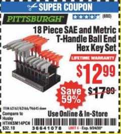 Harbor Freight Coupon 18 PIECE SAE AND METRIC T-HANDLE BALL END HEX KEY SET Lot No. 96645/62476/63166/63167 Expired: 9/24/20 - $12.99