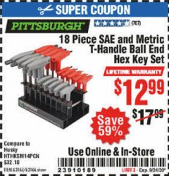 Harbor Freight Coupon 18 PIECE SAE AND METRIC T-HANDLE BALL END HEX KEY SET Lot No. 96645/62476/63166/63167 Expired: 9/20/20 - $12.99