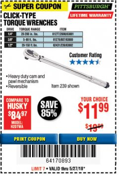 Harbor Freight Coupon 3/8 IN. DRIVE PROFESSIONAL CLICK TYPE TORQUE WRENCH Lot No. 64065 Expired: 5/27/18 - $11.99