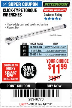 Harbor Freight Coupon 3/8 IN. DRIVE PROFESSIONAL CLICK TYPE TORQUE WRENCH Lot No. 64065 Expired: 1/27/19 - $11.99