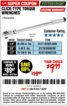 Harbor Freight Coupon 3/8 IN. DRIVE PROFESSIONAL CLICK TYPE TORQUE WRENCH Lot No. 64065 Expired: 1/6/20 - $9.99