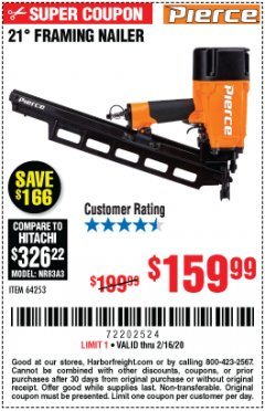 Harbor Freight Coupon PIERCE PROFESSIONAL FRAMING NAILER Lot No. 64253 Expired: 2/16/20 - $159.99