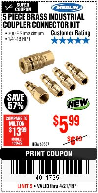 Harbor Freight Coupon 5 PIECE BRASS INDUSTRIAL COUPLER CONNECTOR KIT Lot No. 63557 Expired: 4/21/19 - $5.99
