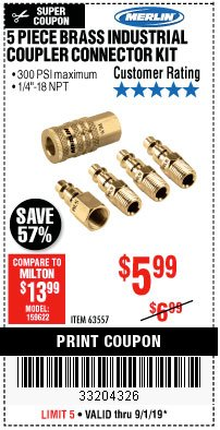 Harbor Freight Coupon 5 PIECE BRASS INDUSTRIAL COUPLER CONNECTOR KIT Lot No. 63557 Expired: 9/1/19 - $5.99