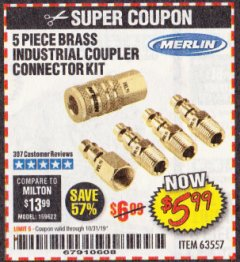 Harbor Freight Coupon 5 PIECE BRASS INDUSTRIAL COUPLER CONNECTOR KIT Lot No. 63557 Expired: 10/31/19 - $5.99