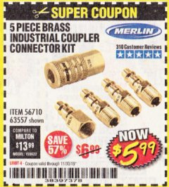 Harbor Freight Coupon 5 PIECE BRASS INDUSTRIAL COUPLER CONNECTOR KIT Lot No. 63557 Expired: 11/30/19 - $5.99
