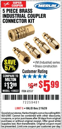 Harbor Freight Coupon 5 PIECE BRASS INDUSTRIAL COUPLER CONNECTOR KIT Lot No. 63557 Expired: 2/16/20 - $5.99