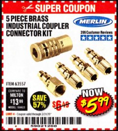 Harbor Freight Coupon 5 PIECE BRASS INDUSTRIAL COUPLER CONNECTOR KIT Lot No. 63557 Valid Thru: 3/31/20 - $5.99