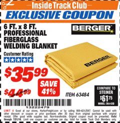 Harbor Freight ITC Coupon 6 FT. X 8 FT. PROFESSIONAL FIBERGLASS WELDING BLANKET Lot No. 63484 Expired: 7/31/18 - $35.99