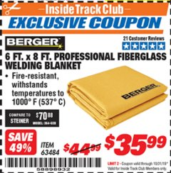 Harbor Freight ITC Coupon 6 FT. X 8 FT. PROFESSIONAL FIBERGLASS WELDING BLANKET Lot No. 63484 Expired: 10/31/19 - $35.99