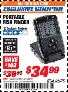 Harbor Freight ITC Coupon PORTABLE FISH FINDER Lot No. 62675/94511 Expired: 2/29/20 - $34.99