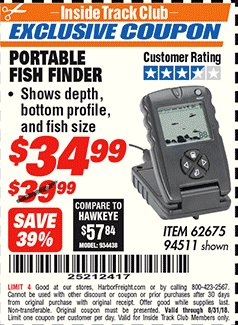 Harbor Freight ITC Coupon PORTABLE FISH FINDER Lot No. 62675/94511 Expired: 8/31/18 - $34.99