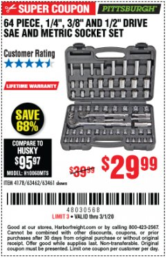 "Harbor Freight Coupon 64 PIECE 1/4"", 3/8"", 1/2"" DRIVE SOCKET SET Lot No. 69261/63461/63462/67995 Expired: 3/1/20 - $29.99"