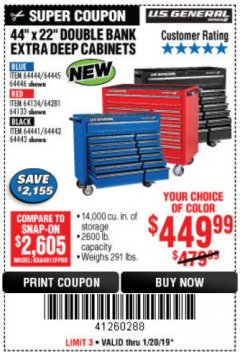 "Harbor Freight Coupon 44"" X 22"" DOUBLE BANK EXTRA DEEP ROLLER CABINETS Lot No. 64444/64445/64446/64441/64442/64443/64281/64134/64133/64954/64955/64956 Expired: 1/20/19 - $449.99"