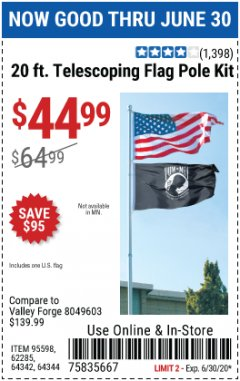 Harbor Freight Coupon 20 FT. TELESCOPING FLAG POLE Lot No. 62285/64344/64342/95598 EXPIRES: 6/30/20 - $44.99