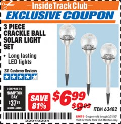 Harbor Freight ITC Coupon 3 PIECE SOLAR GLASS CRACKLE BALL PATHWAY LIGHT SET Lot No. 63482 Expired: 3/31/20 - $6.99