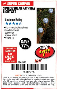 Harbor Freight Coupon 3 PIECE SOLAR GLASS CRACKLE BALL PATHWAY LIGHT SET Lot No. 63482 Expired: 7/31/18 - $7.99