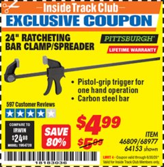 "Harbor Freight ITC Coupon 24"" RATCHET BAR CLAMP/SPREADER Lot No. 68977/62112/64153/46809 Expired: 6/30/20 - $4.99"