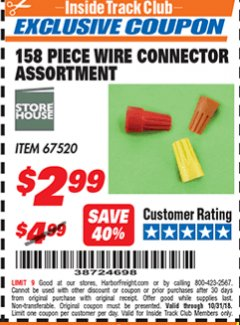 Harbor Freight ITC Coupon 158 PIECE WIRE CONNECTOR ASSORTMENT Lot No. 67520 Expired: 10/31/18 - $2.99