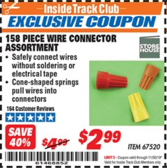 Harbor Freight ITC Coupon 158 PIECE WIRE CONNECTOR ASSORTMENT Lot No. 67520 Expired: 11/30/19 - $2.99