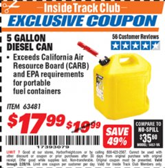 Harbor Freight ITC Coupon 5 GALLON DIESEL CAN Lot No. 63481 Expired: 2/28/19 - $17.99