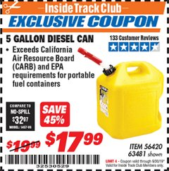 Harbor Freight ITC Coupon 5 GALLON DIESEL CAN Lot No. 63481 Expired: 9/30/19 - $17.99