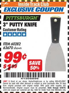 "Harbor Freight ITC Coupon 3"" PUTTY KNIFE Lot No. 60282/63670 Expired: 6/30/18 - $0.99"