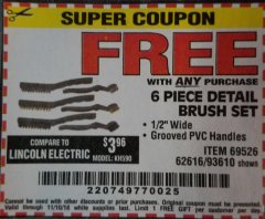 Harbor Freight FREE Coupon 6 PIECE DETAIL BRUSH SET Lot No. 93610/69526/62616 Expired: 11/10/18 - FWP
