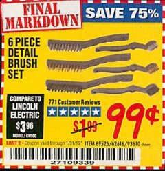 Harbor Freight Coupon 6 PIECE DETAIL BRUSH SET Lot No. 93610/69526/62616 Expired: 1/31/19 - $0.99